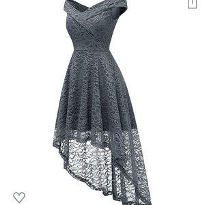 Floral Lace Off Shoulder Hi-Lo Cocktail Dress